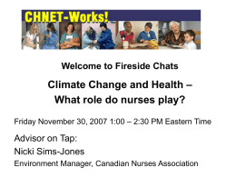 Nov 30 2007 Climate Change and Health - Nicki - CHNET