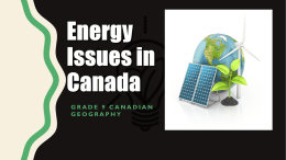 Energy Issues in Canada