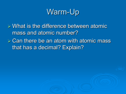 Atomic Weight Notes