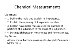 Chemical Measurements - Santa Susana High School
