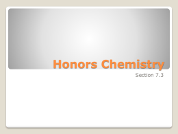 Honors Chemistry - Lakeland Regional High School / Overview