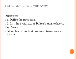 Early Models of the Atom - Santa Susana High School