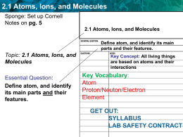2.1 Atoms, Ions, and Molecules