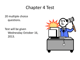 Chapter 4 Test Question Topics