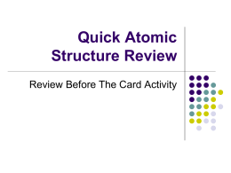 Quick Atomic Structure Review