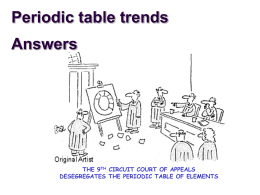 Periodic table trends Answers
