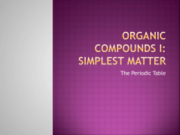 Organic compounds I: Simplest matter