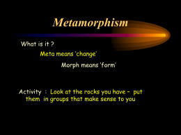 Metamorphism - Earth Science Teachers' Association