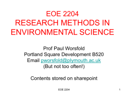 ENV204 - RESEARCH METHODS IN ENVIRONMENTAL SCIENCE