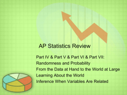 AP Statistics Review - William H. Peacock, LCDR USN, Ret