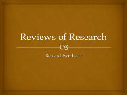 Reviews of Research - University of British Columbia