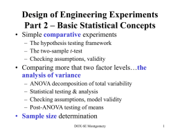 Design of Engineering Experiments Part 2