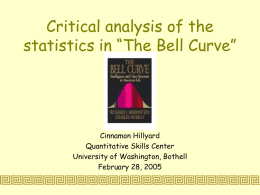 "Critical analysis of the statistics in ""The Bell Curve"""