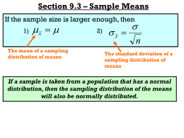 Section 9.3 – Sample Means