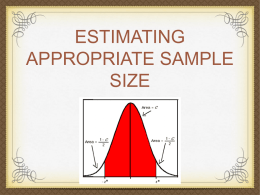 38. COMPUTING FOR THE SAMPLE SIZE TO ESTIMATE