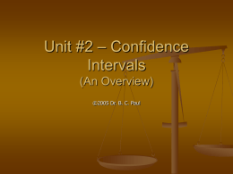 Unit #2 – Confidence Intervals (An Overview)
