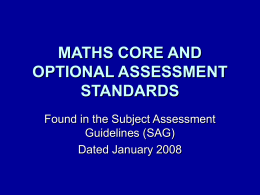 maths core and optional assessment standards
