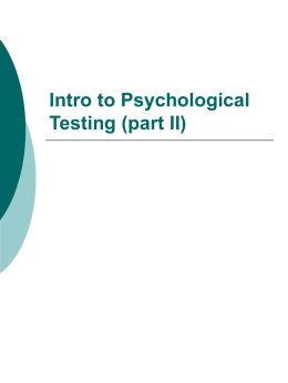 Intro to Psychological Testing (part I)