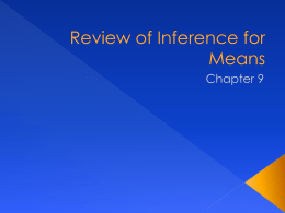 Review of Inference for Means