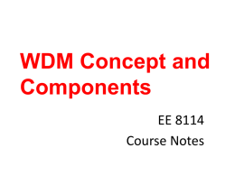 WDM Concepts and Components