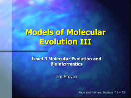 Models of molecular evolution III