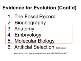 Evolution Theory by Natural selection - KCI-SBI3U