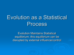 Evolution as a Statistical Process