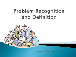 Problem Recognition and Definition