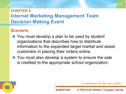 CHAPTER 1 Marketing Management Series Event