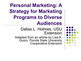 Personal Marketing: A Strategy for Marketing Programs to Diverse