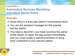 CHAPTER 6 Automotive Services Marketing Individual Series Event