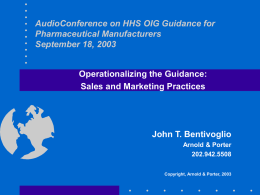 HHS OIG Compliance Guide for the Pharmaceutical Industry
