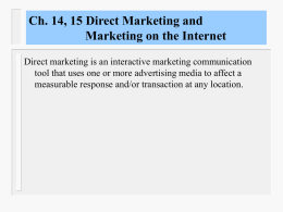 Chapter 14 Direct Marketing and Marketing on the Internet