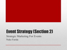 Strategic Marketing For Events