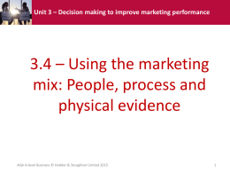 Unit 3 – Decision making to improve marketing performance