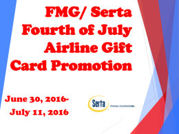 Serta Fourth of July Airline Gift Card Promotionx