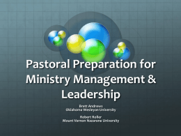 Pastoral Preparation for Ministry Management & Leadership