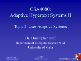 CSA4080: Adaptive Hypertext Systems II - Search