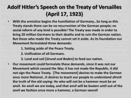 Adolf Hitler's Speech on the Treaty of Versailles (April