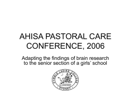 AHISA PASTORAL CARE CONFERENCE, 2006