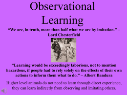 Module 30: Observational Learning
