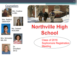 Northville High School Sophomore Registration 2014-2015