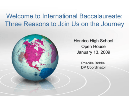 Introduction to International Baccalaureate