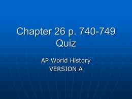 Ch 26 Quiz Version A