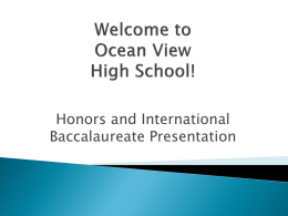 Welcome to Ocean View High School!