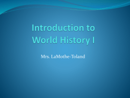 Introduction to World History I