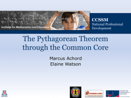 Pythagorean Theorem - Institute for Mathematics & Education
