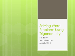 Solving Word Problems Using Trigonometry Presentation