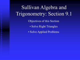 Sullivan Algebra and Trigonometry: Section 9.1