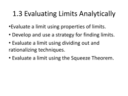 1.3 Evaluating Limits Analytically